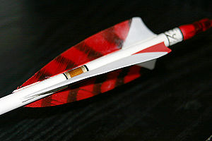 Fletching - Feather fletching - these are shield cut with barred red hen feathers and a solid white cock