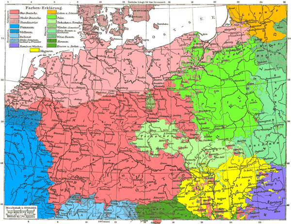 Czechs and Slovaks in one color (light green) on ethnic map, 1880s.
