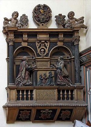 Thomas Offley - Monument to Sir Thomas and Dame Joan Offley in the church of St Andrew Undershaft, 1582.