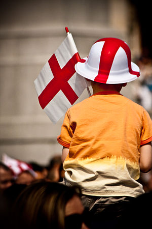 Saint George's Day - A child with an English flag and hat on St. George's Day
