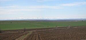 Danubian Plain (Bulgaria) - View across the Danubian Plain towards the central Balkan Mountains 90 km away