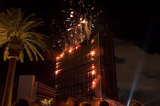 Stardust Resort and Casino - Fireworks light up the Stardust hotel in Las Vegas, Nevada as demolition charges inside begin to take down the building.