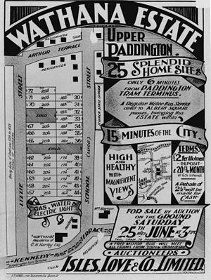 Paddington, Queensland - Land Sale map of the Wathana Estate in Paddington, 1927