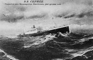 Messageries Maritimes - The passenger liner Cephée, built in 1912 as Hamburg Süd's Buenos Aires, was transferred to Messageries maritimes as part of reparations after the First World War