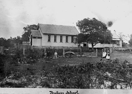 Cricket match at Bulwer State School, Queensland, 1899. Group of children playing cricket in the grounds of Bulwer State School, on Moreton Island, in 1899. The teacher's residence is next to the school. StateLibQld 1 168831 Cricket match at Bulwer State School, Queensland, 1899.jpg