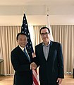 Steven Mnuchin and Taro Aso at 2018 IMF Meeting.jpg