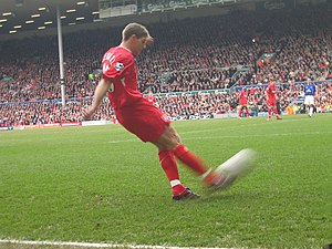 Cross (football) - Steven Gerrard crossing the ball in a Premier League match.