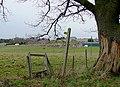 Stile, and footpath to Trescott Grange, Staffordshire - geograph.org.uk - 1135127.jpg