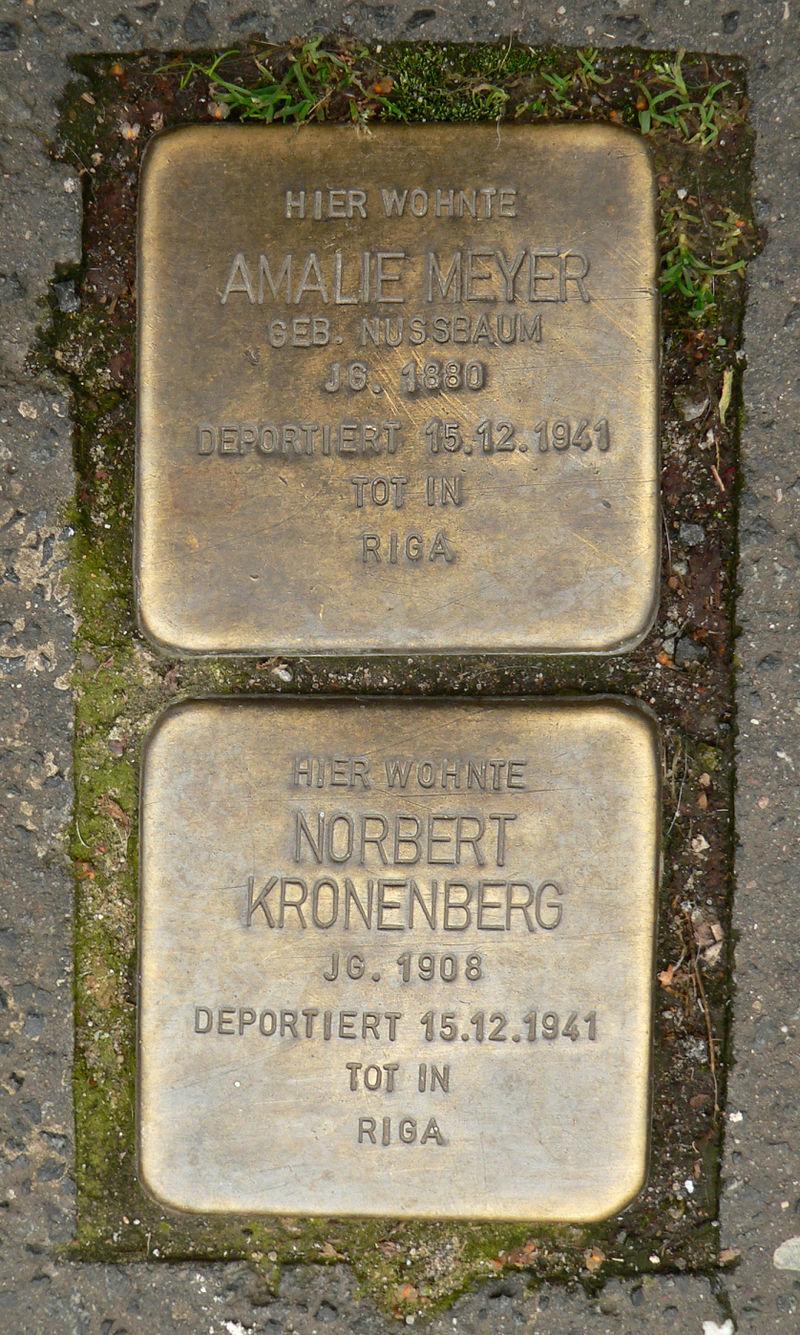 Stolpersteine für Amalie Meyer und Norbert Kronenberg in Hannover