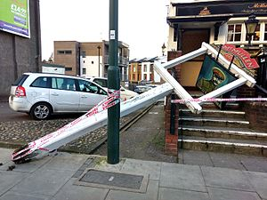 2016–17 UK and Ireland windstorm season - Damage from Storm Doris in New Barnet, London.