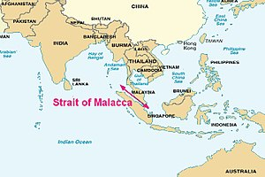 Strait of Malacca - The Strait of Malacca connects the Pacific Ocean to the east with the Indian Ocean to the west.