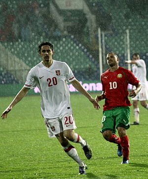 Valeri Bojinov - Bojinov (right) playing for Bulgaria in November 2010