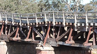 Main North railway line, New South Wales - Sunnyside rail bridge over Tenterfield Creek has fallen into disrepair, 2015