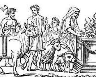 Lustratio - Romans sacrificing a pig, a sheep, and a bull during a suovetaurilia