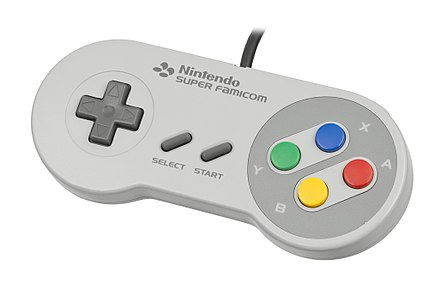 The SNES/Super Famicom gamepad (Japanese Super Famicom version shown), which popularized the layout used by most modern gamepads Super-Famicom-Controller.jpg