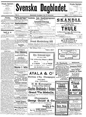 Svenska Dagbladet - Front page of the first issue of Svenska Dagbladet (18 December 1884)