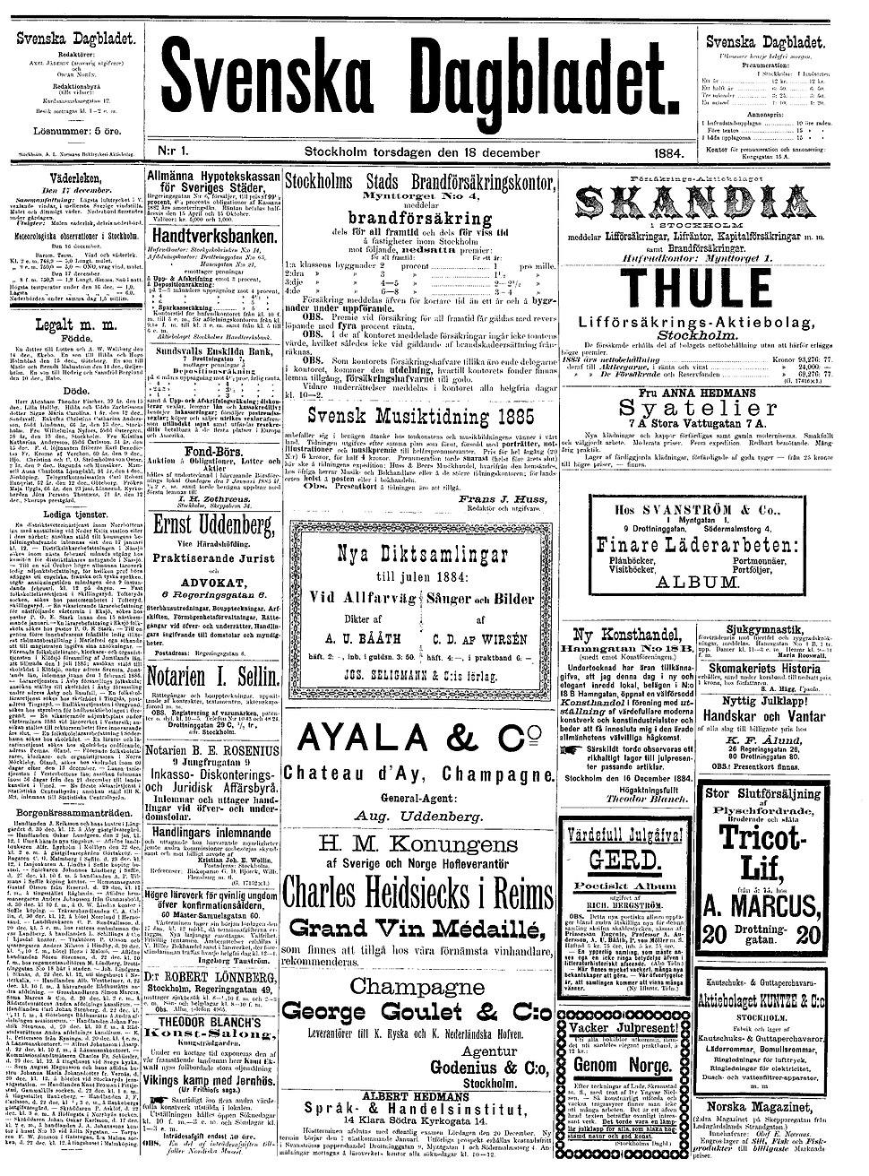 Svenska Dagbladet first issue