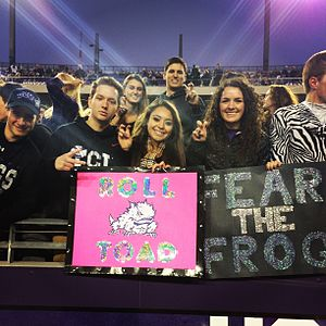 TCU Horned Frogs football - TCU students supporting the Horned Frogs against Kansas St on 11/8/14