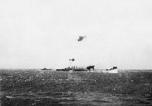 TG17.3 and HMAS Australia under attack Coral Sea.jpg
