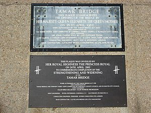 Tamar Bridge - A set of plaques commemorating the original opening of the Tamar Bridge, and its reconstruction 40 years later