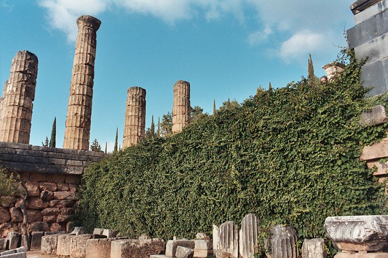 File:Temple of Apollo at Delphi from below with ivy.JPG