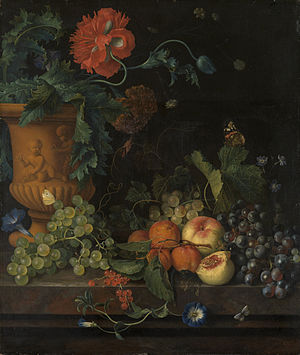 Jan van Huysum - Image: Terracotta Vase with Flowers and Fruits Jan van Huijsum Google Cultural Institute