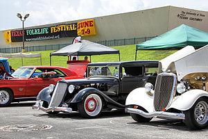 Texas Folklife Festival - Alamo City Rods custom cars on display at the 42nd Texas Folklife Festival in 2013.