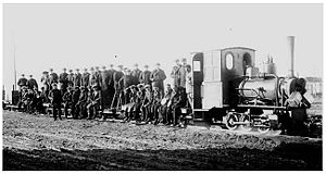 Southern Fuegian Railway - Train carrying jail staff, 1920.