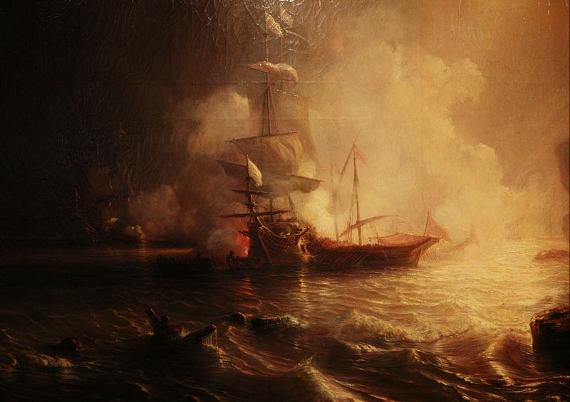 File:Théodore Gudin-Combat d'un vaisseau français et de deux galères barbaresques mg 5063.jpg