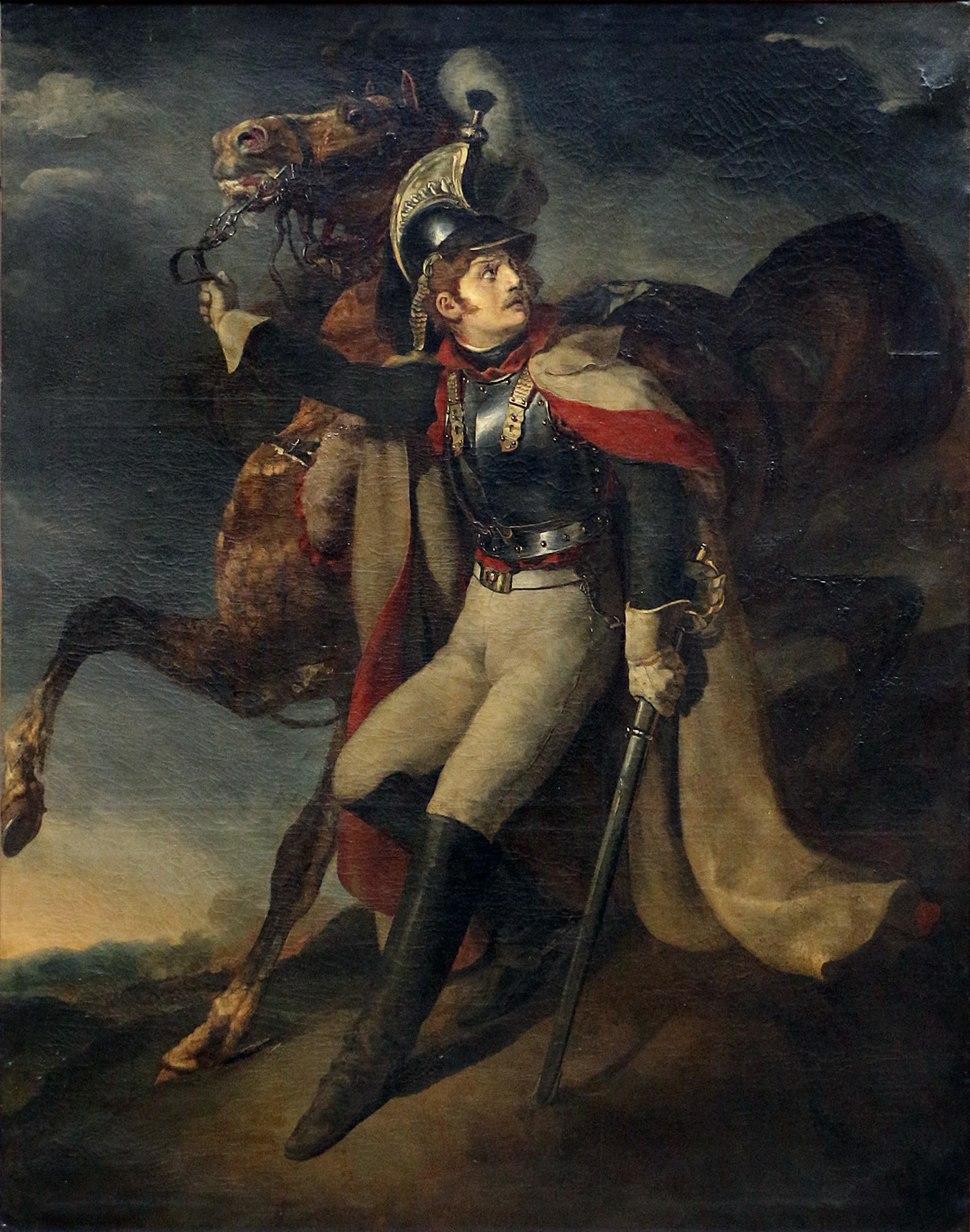 Théodore géricault, corazziere ferito che abbandona il fuoco, ante 1814, 01