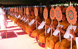 Ecclesiastical peerage of Thailand - Ecclesiastical peers holding their letters of appointment and fans of rank.