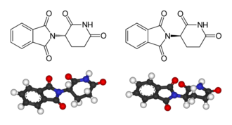 Enantioselective synthesis - The two enantiomers of thalidomide: Left: (S)-thalidomide Right: (R)-thalidomide