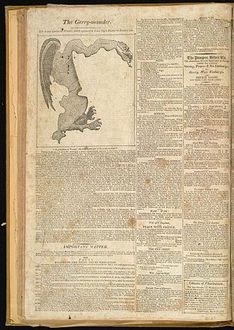 "Gerrymandering in the United States - ""The Gerry-mander"" first appeared in this cartoon-map in the Boston Gazette, 26 March 1812."