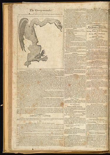 """The Gerry-mander"" first appeared in this cartoon-map in the Boston Gazette, March 26, 1812. TheGerry-mander.jpg"