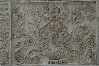 Rinceau decorative pattern of scrolling stems and leaves, especially of acanthus leaves