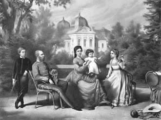Gödöllő Palace - King Franz Joseph and Queen Elisabeth with the royal family at Gödöllő