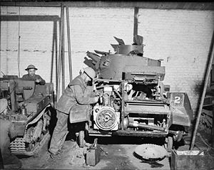 Light Tank Mk VI - A Mk VI undergoing maintenance, France 1940. The location of the engine, beside the driver, can be seen