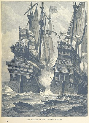 Andrew Barton (privateer) - An 1887 illustration of Barton's last battle