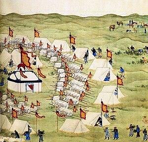 Battle of Jao Modo - Emperor Kangxi en route to attack the Dzungar Khan, Galdan Boshugtu, in 1696..