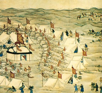 Dzungar–Qing Wars - The Qing army camps on the Kherlen River 1696.