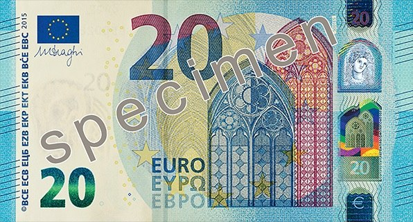 The Europa series 20 € obverse side