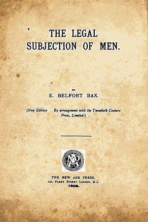 Ernest Belfort Bax - Inside cover of Legal Subjection of Men, first published 1896