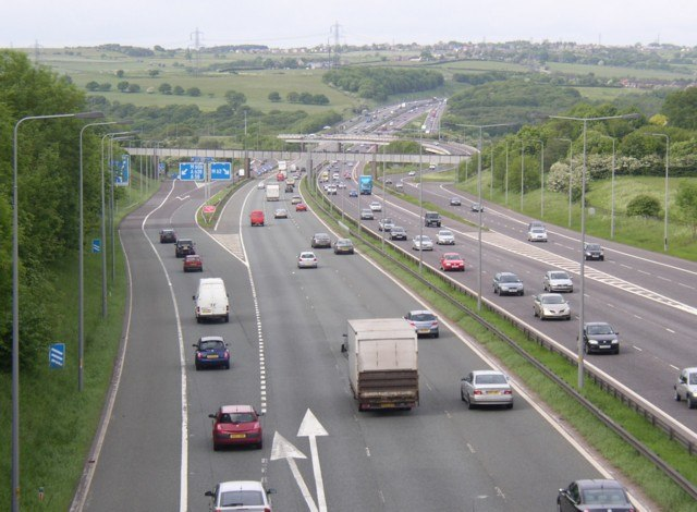The M62 seen from the Whitechapel Road bridge, Cleckheaton - geograph.org.uk - 185794