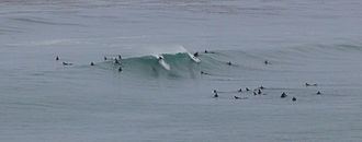 Swami's - The main peak at Swamis, on a rare strong summer swell.