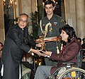 The President, Shri Pranab Mukherjee presenting the Arjuna Award for the year-2012 to Ms. Deepa Malik for Athletics Paralympics, in a glittering ceremony, at Rashtrapati Bhavan, in New Delhi on August 29, 2012.jpg