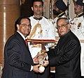 The President, Shri Pranab Mukherjee presenting the Padma Shri Award to Dr. Dattatreyudu Nori, at a Civil Investiture Ceremony, at Rashtrapati Bhavan, in New Delhi on April 08, 2015.jpg