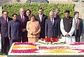 The President of Chile, Mr. Ricardo Lagos Escobar paying homage at the Samadhi of Mahatma Gandhi at Rajghat in Delhi on January 20, 2005.jpg