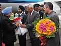 The Prime Minister, Dr. Manmohan Singh being received by the Governor of Jammu and Kashmir Shri N. N. Vohra, at Jammu Airport, in Jammu and Kashmir on March 04, 2011.jpg