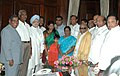 The Prime Minister, Dr. Manmohan Singh with the newly elected Rajya Sabha member Ms. Kanimozhi in New Delhi on July 26, 2007 (1).jpg