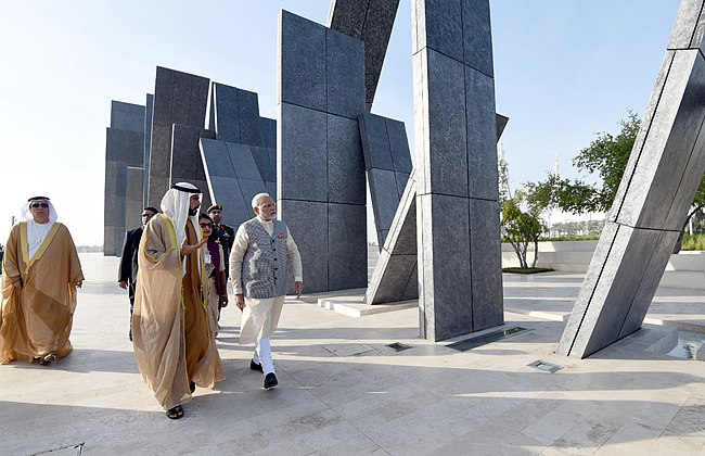 "The Prime Minister, Shri Narendra Modi paid tributes to brave soldiers of UAE who made ultimate sacrifice in the service of UAE at Wahat Al Karama ""Oasis of Dignity"", in Abu Dhabi, United Arab Emirates on February 11, 2018 (2).jpg"